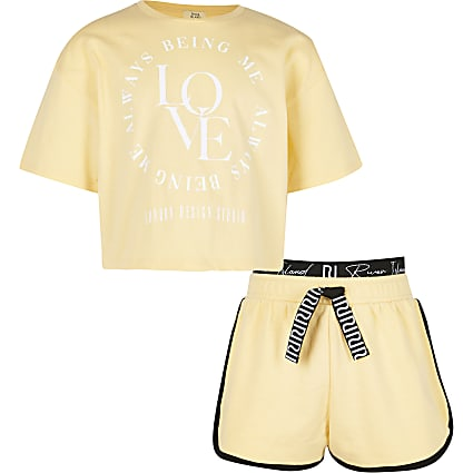 Girls yellow 'Love' t-shirt and shorts set