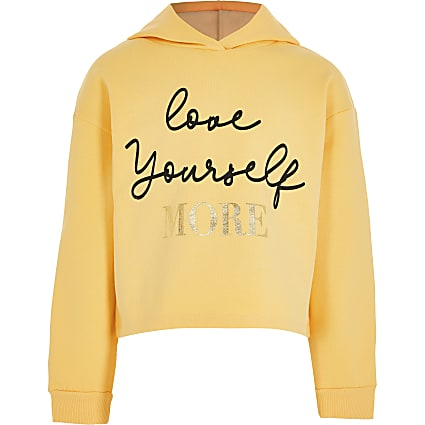 Girls yellow 'Love Yourself' logo hoodie
