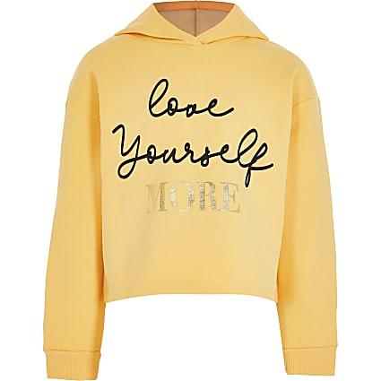 Girls yellow 'Love Yourself' logo hoodie