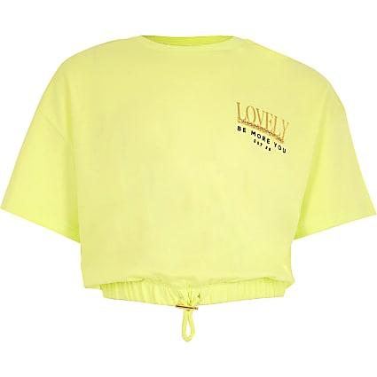 Girls yellow 'Lovely' t-shirt