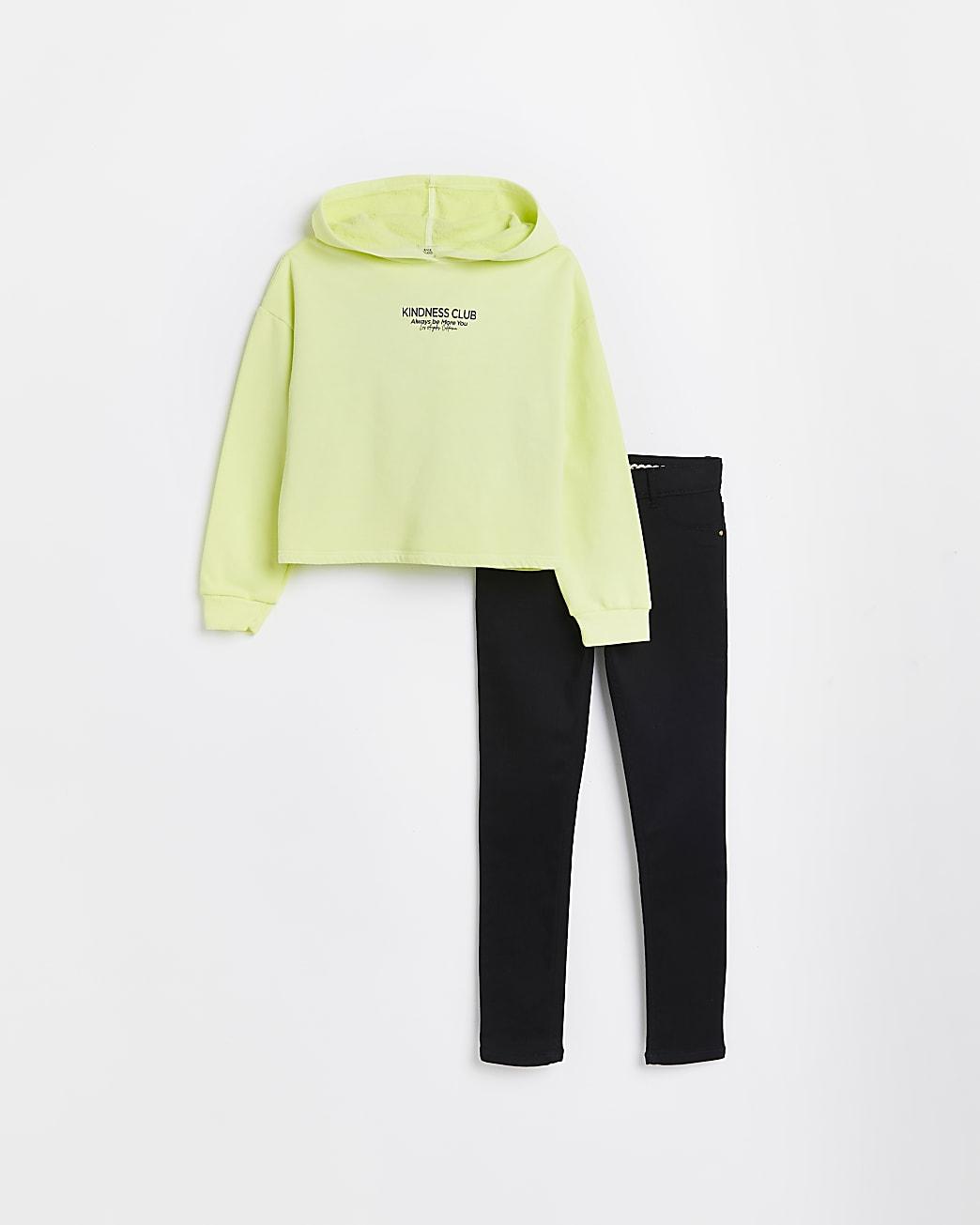 Girls yellow neon hoodie and skinny jeans set