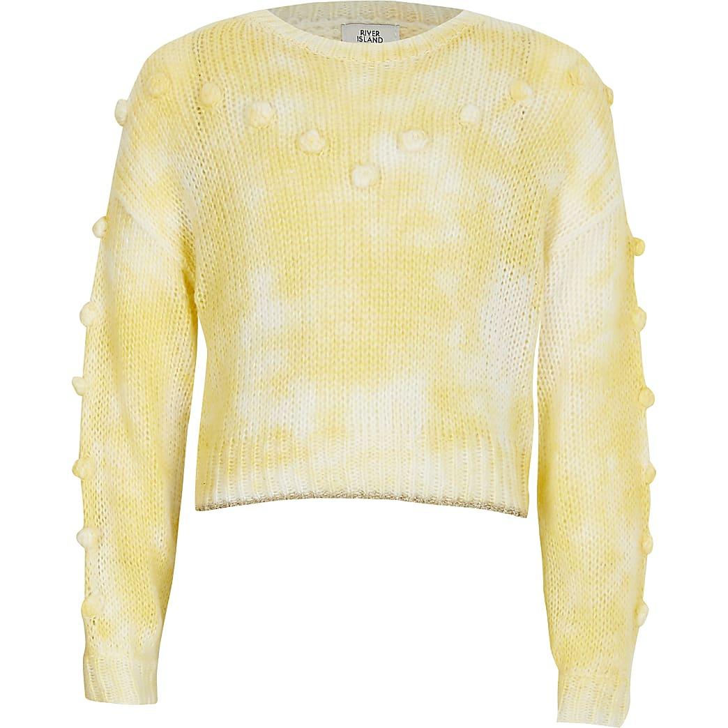 Gele gebreide trui met pompons voor meisjes
