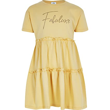 Girls yellow print t-shirt smock dress