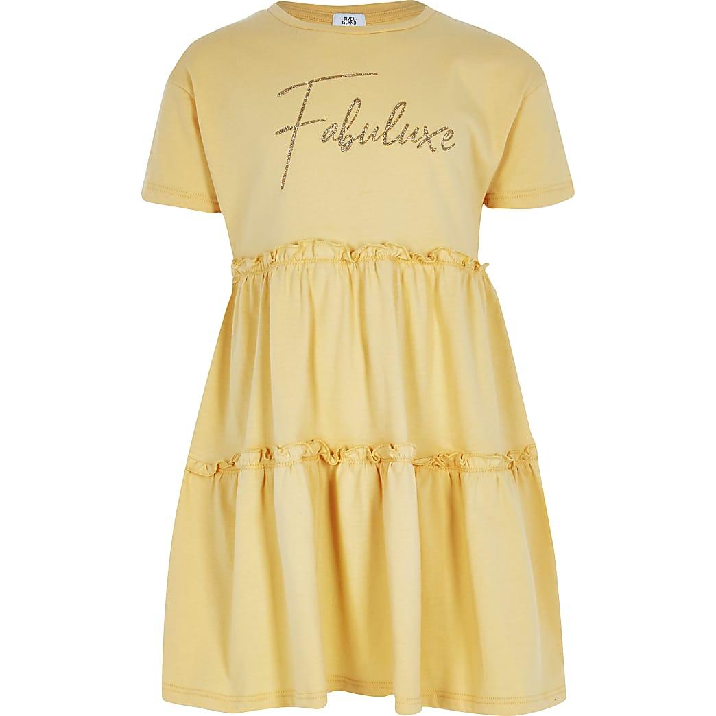 Girls yellow print t-shirt smock dress