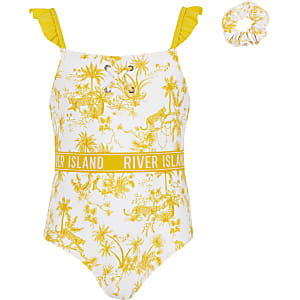 Geel zwempak en haarband met print en RI-tekst voor meisjes