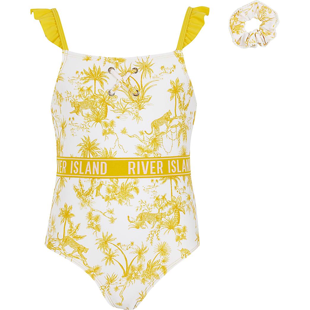 Girls yellow printed RI swimsuit and hairband