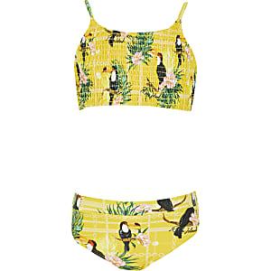 Gerafftes Bikini-Set in Gelb mit Print
