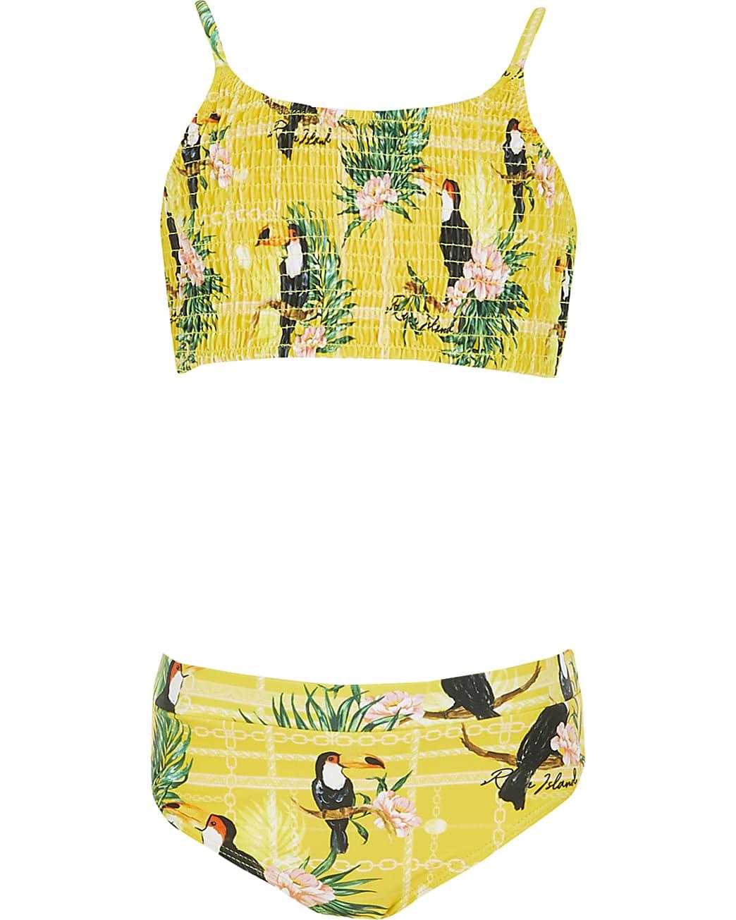 Girls yellow printed shirred bikini set