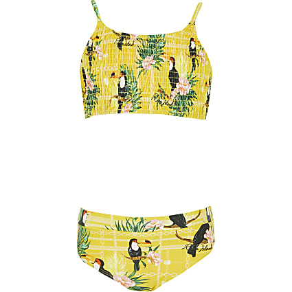 Girls yellow printed shirred bikini set