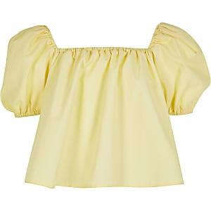 Girls yellow puff sleeve bardot top