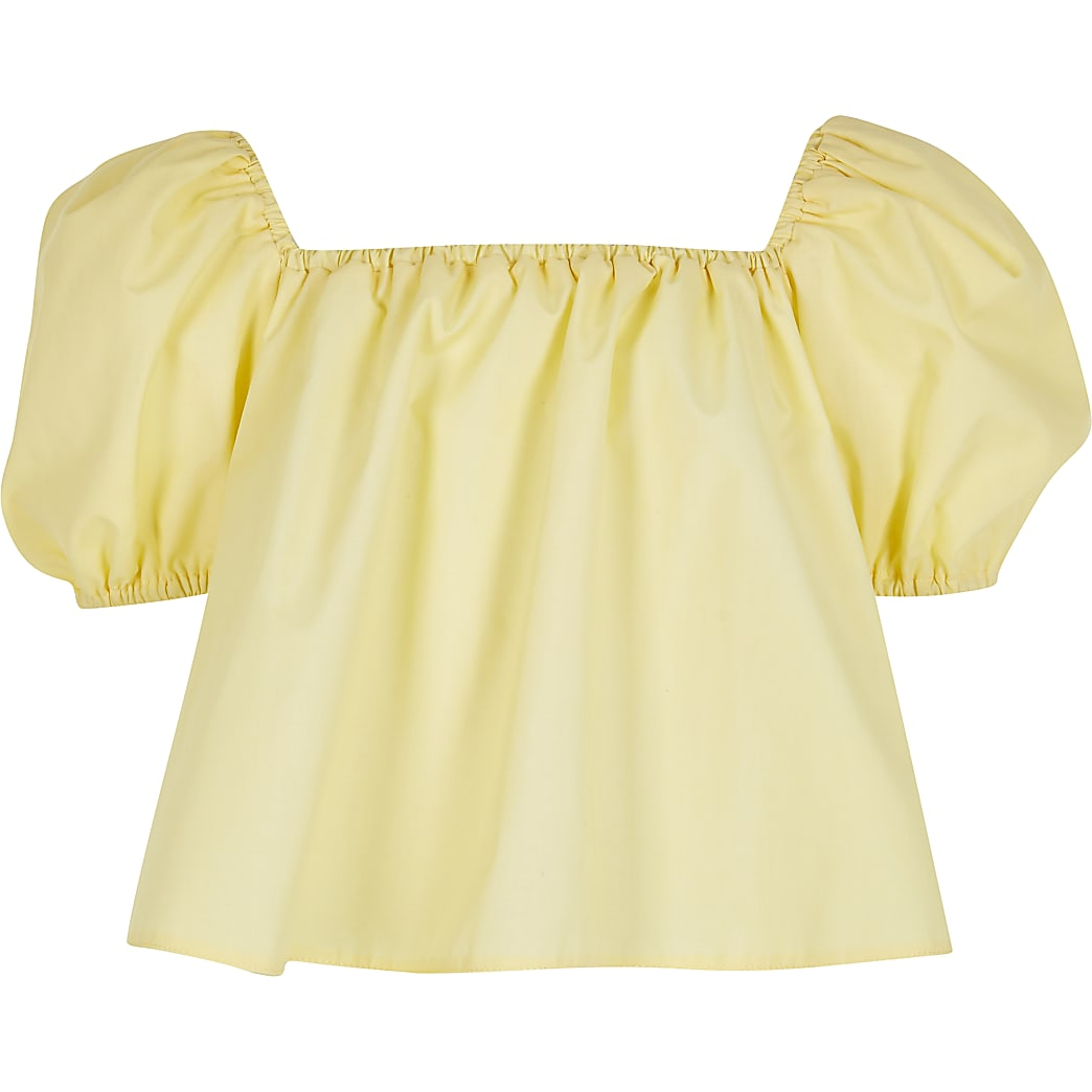 Girls yellow puff sleeve bardot top
