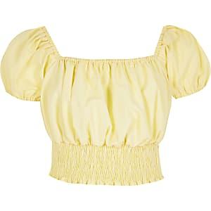 Crop top froncé jaune à manches bouffantes pour fille