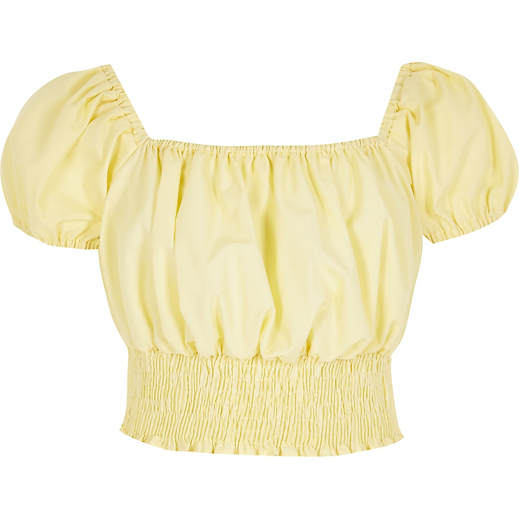 Gele crop top met pofmouwen van opgestroopte stof voor meisjes