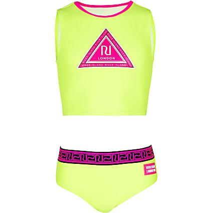 Girls yellow RI bikini crop top set