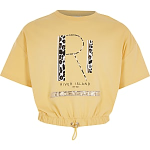 Girls yellow RI cinched waist T-shirt