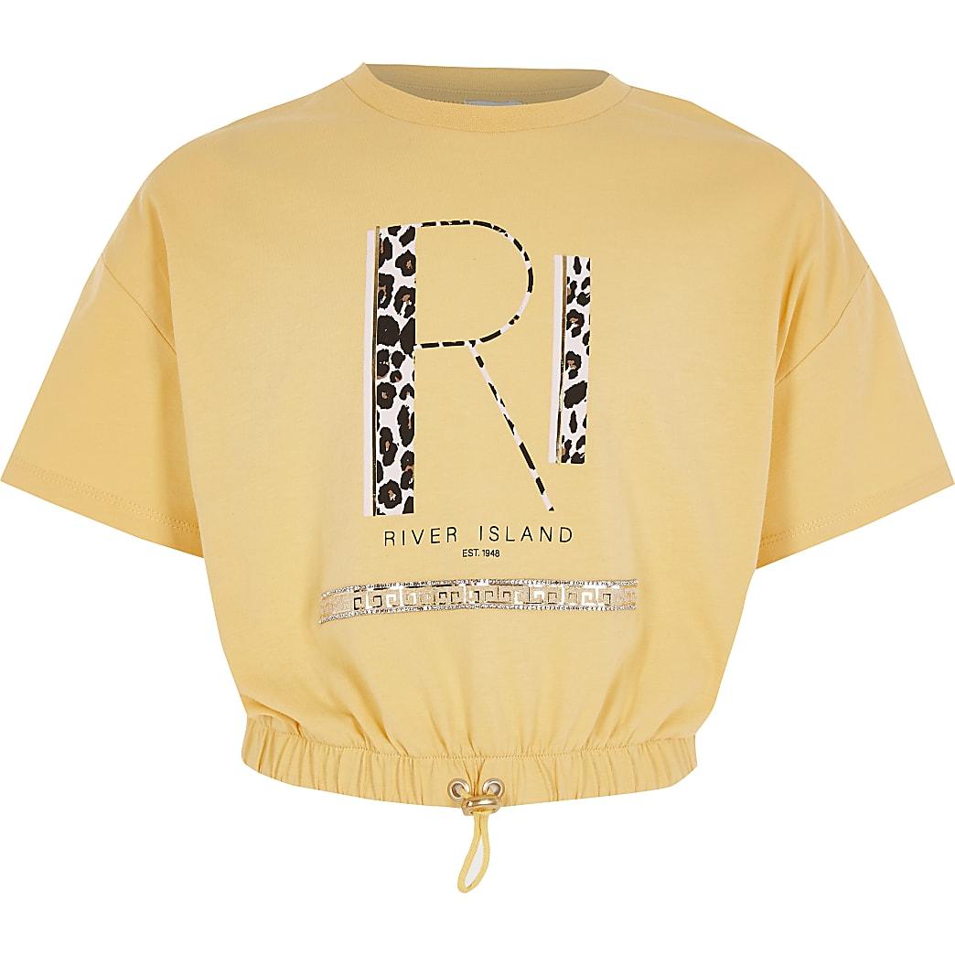 Geel cinched waist T-shirt met RI-print voor meisjes