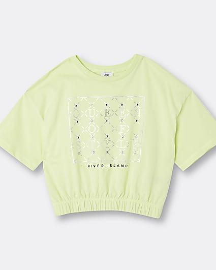 Girls yellow RI diamante cinched waist top