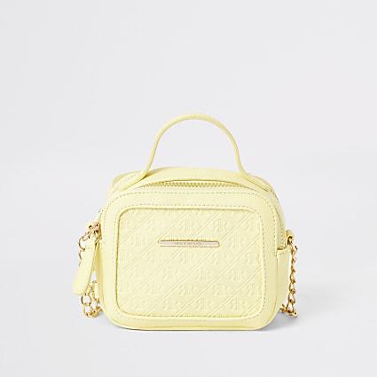 Girls yellow RI embossed cross body bag