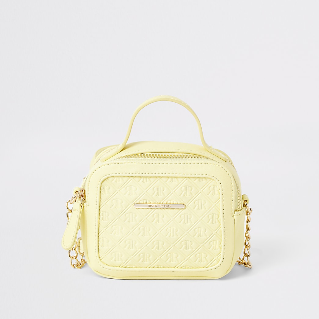 Girls yellow RI embossed cross body bag