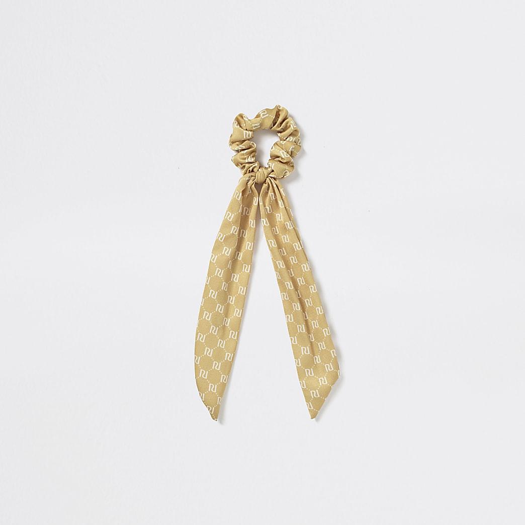 Girls yellow RI monogram scrunchie hairband