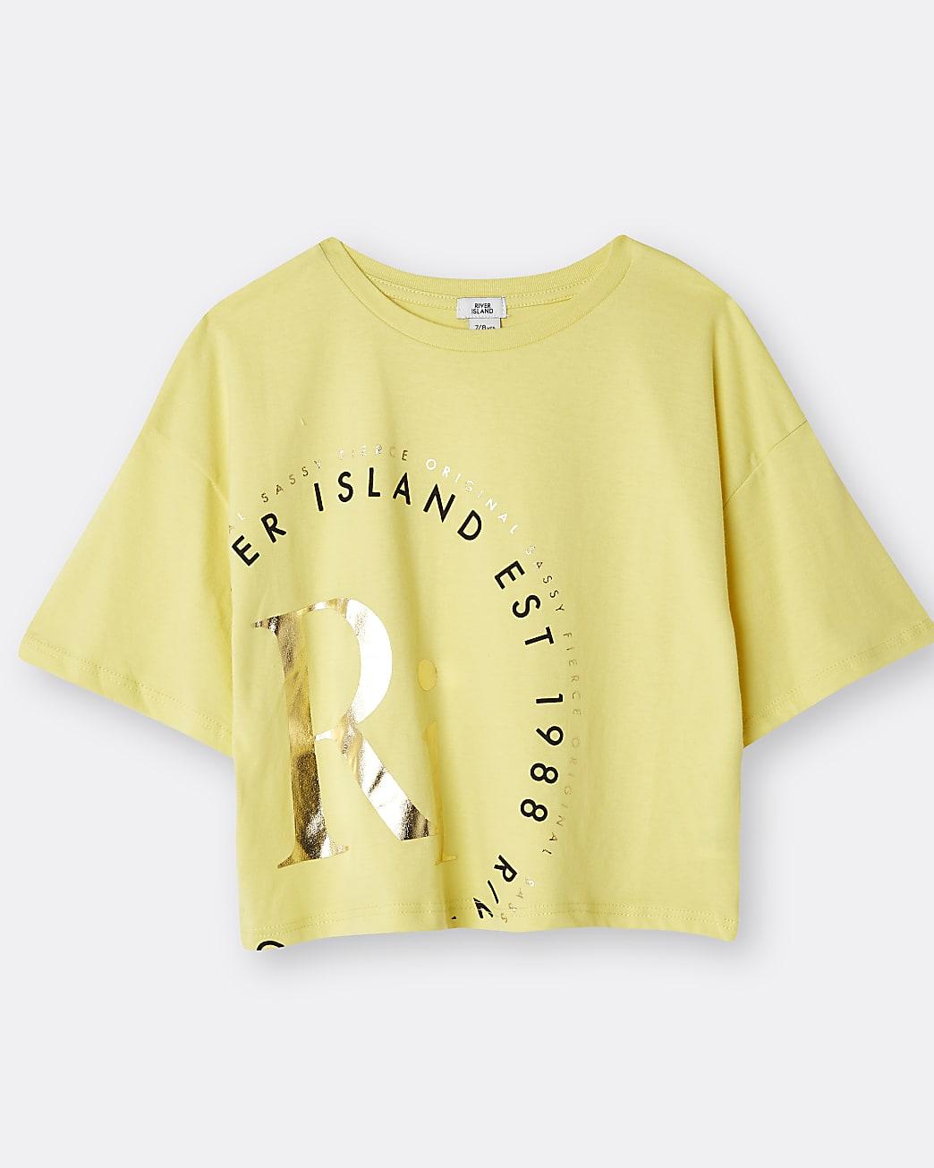 Girls yellow RI print t-shirt