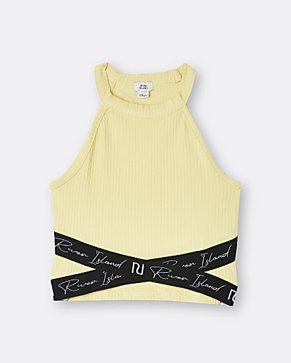Girls yellow RI ribbed crop top