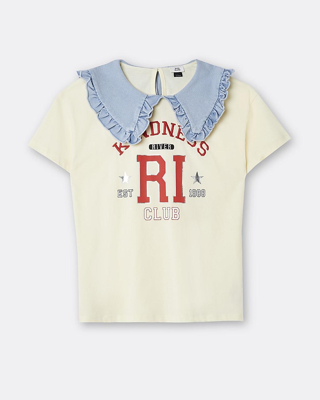 Girls yellow RI varsity collar top