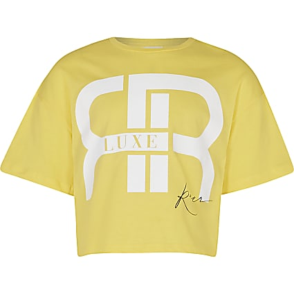 Girls yellow 'RR' slogan crop t-shirt