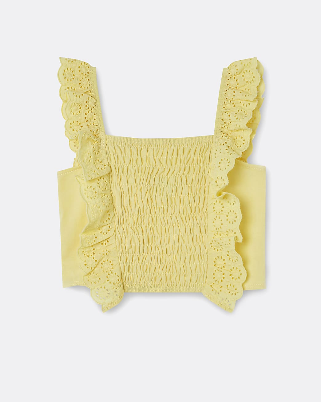 Girls yellow shirred broderie frill crop top