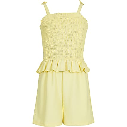 Girls yellow shirred playsuit