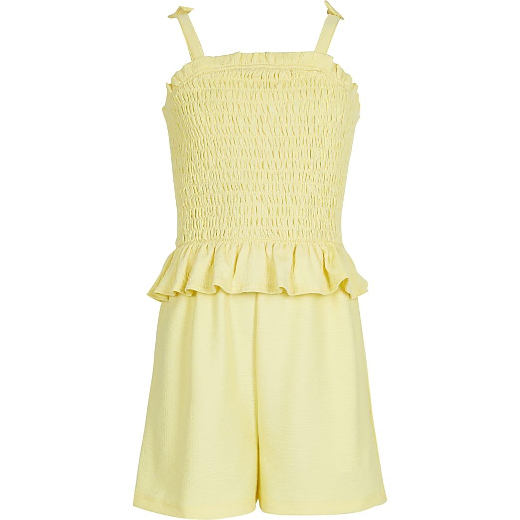 Girls yellow shirred playsuit