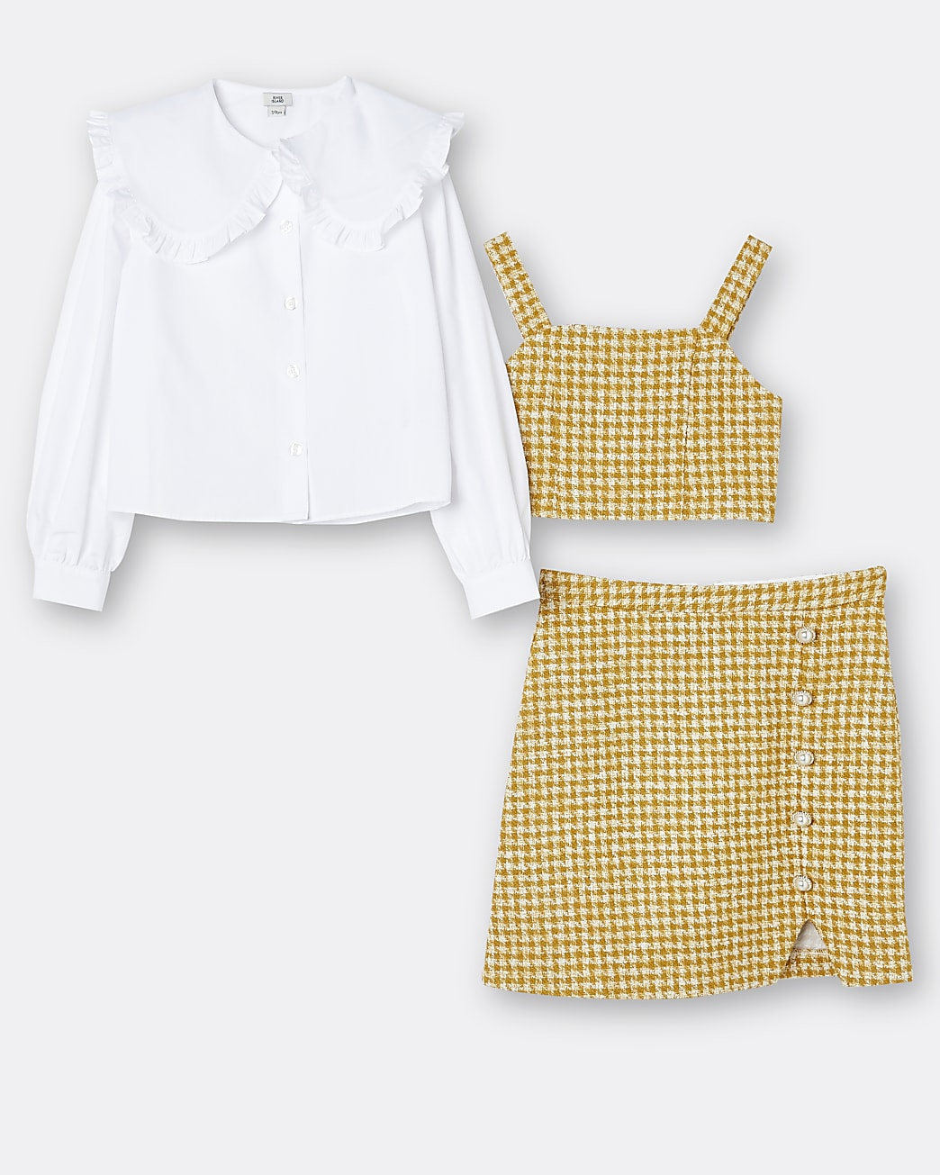 Girls yellow shirt and skirt outfit