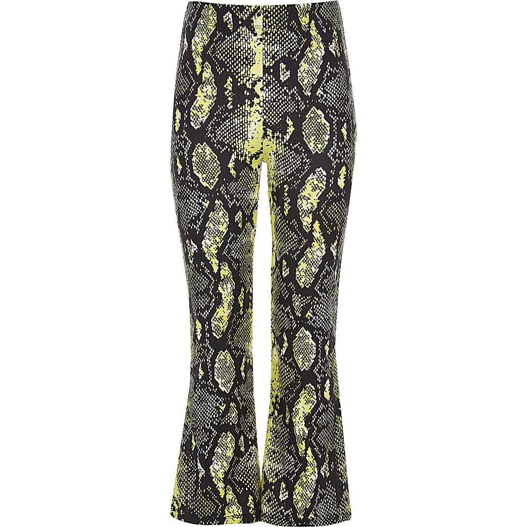 Girls yellow snake print flared trouser