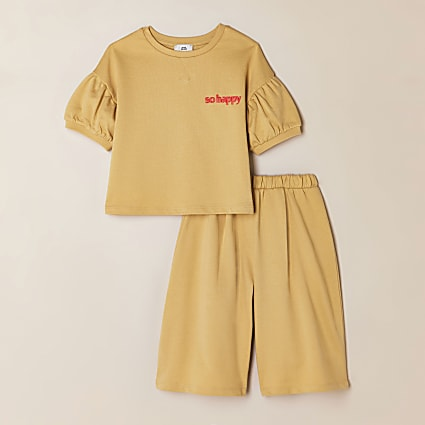Girls yellow 'So Happy' t-shirt outfit