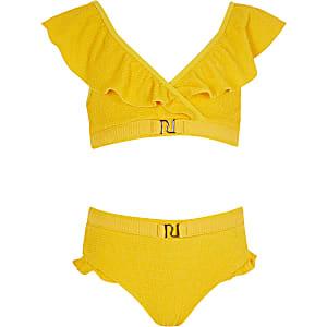 Gele RI bikini set met franje en textuur voor meisjes