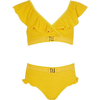 Girls yellow textured frill RI bikini set