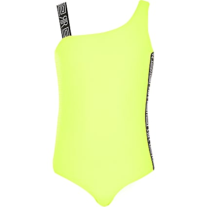 Girls yellow textured one shoulder swimsuit
