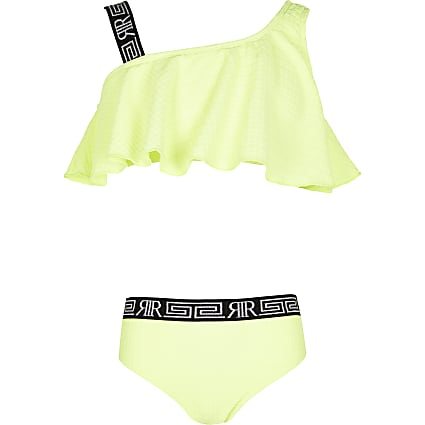 Girls yellow textured RI frill hem bikini set