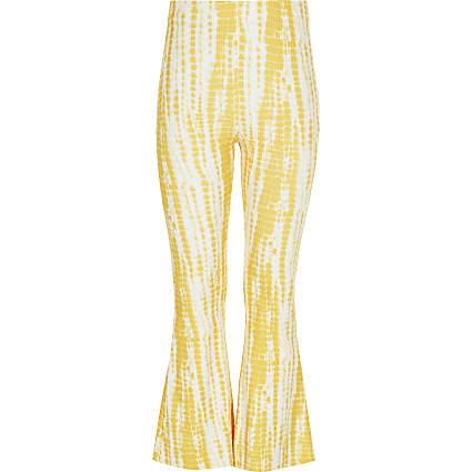 Girls yellow tie dye flare trousers
