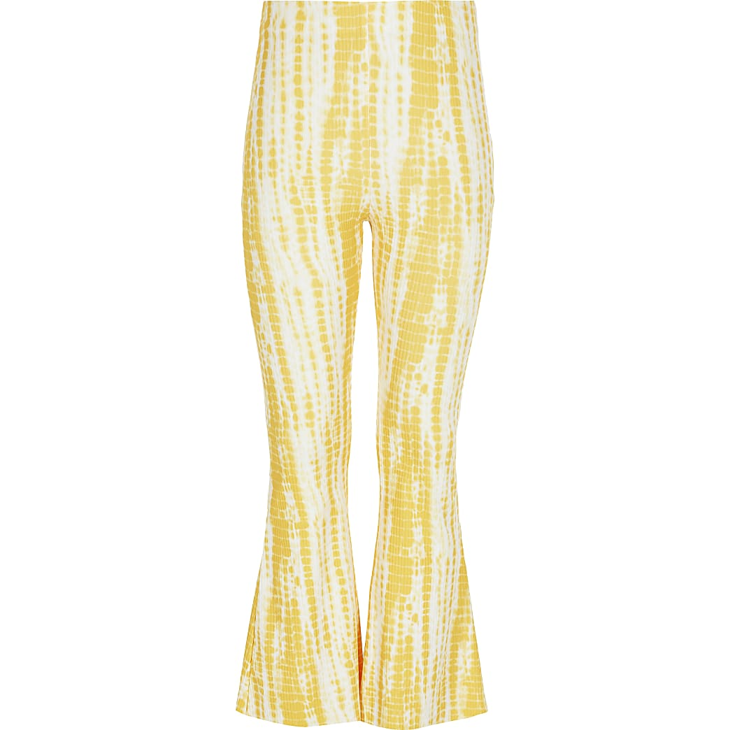 Girls yellow tie dye flare trousers
