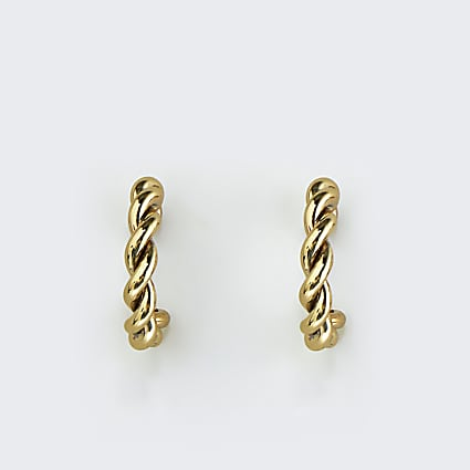 Girls yellow twist hoop earrings
