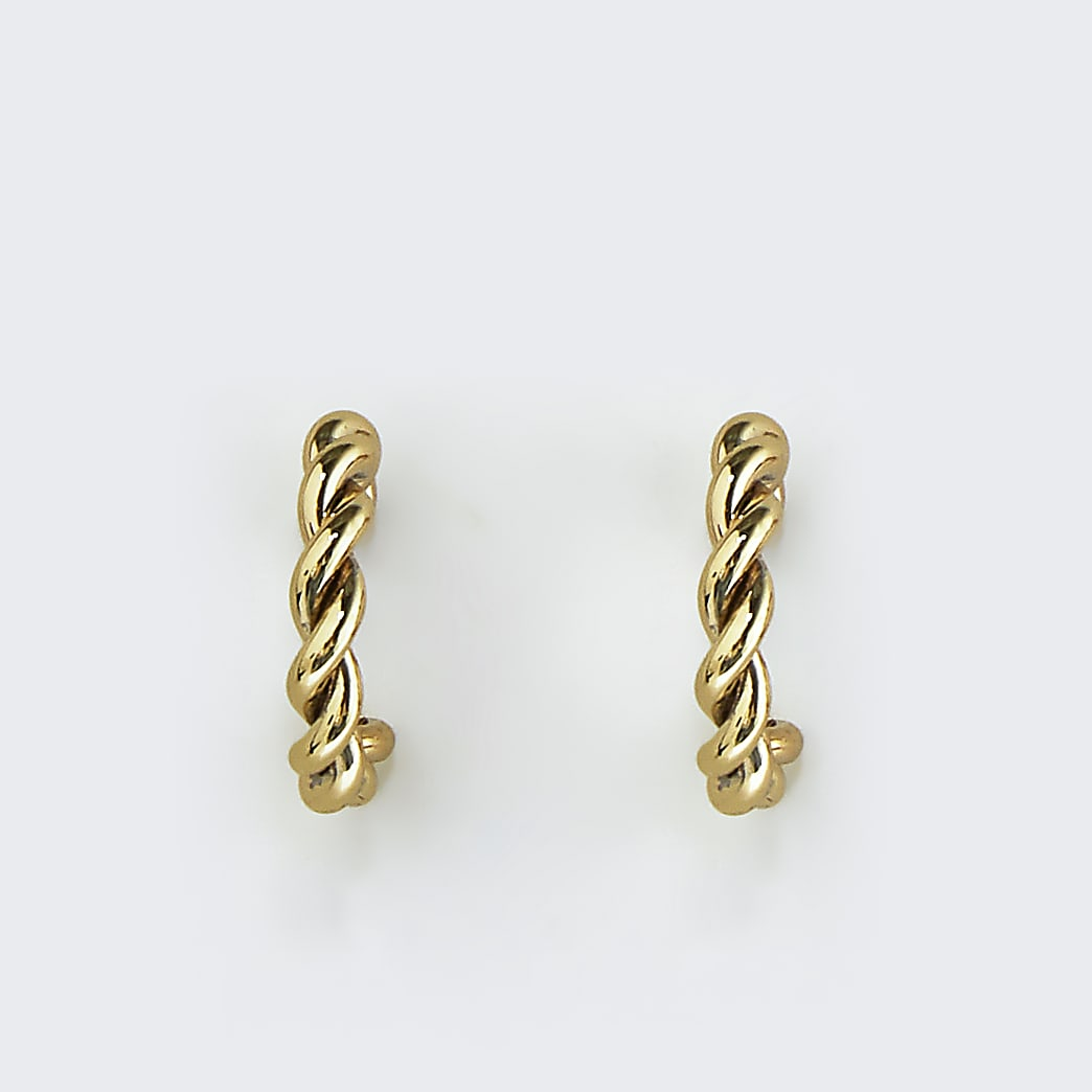 Girls yellow twist hoop earrings