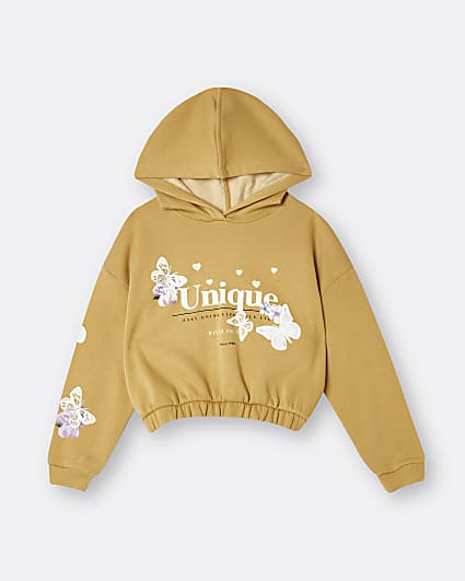 Girls yellow 'Unique' butterfly hoodie