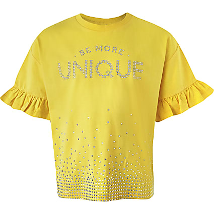 Girls yellow 'Unique' diamante T-shirt