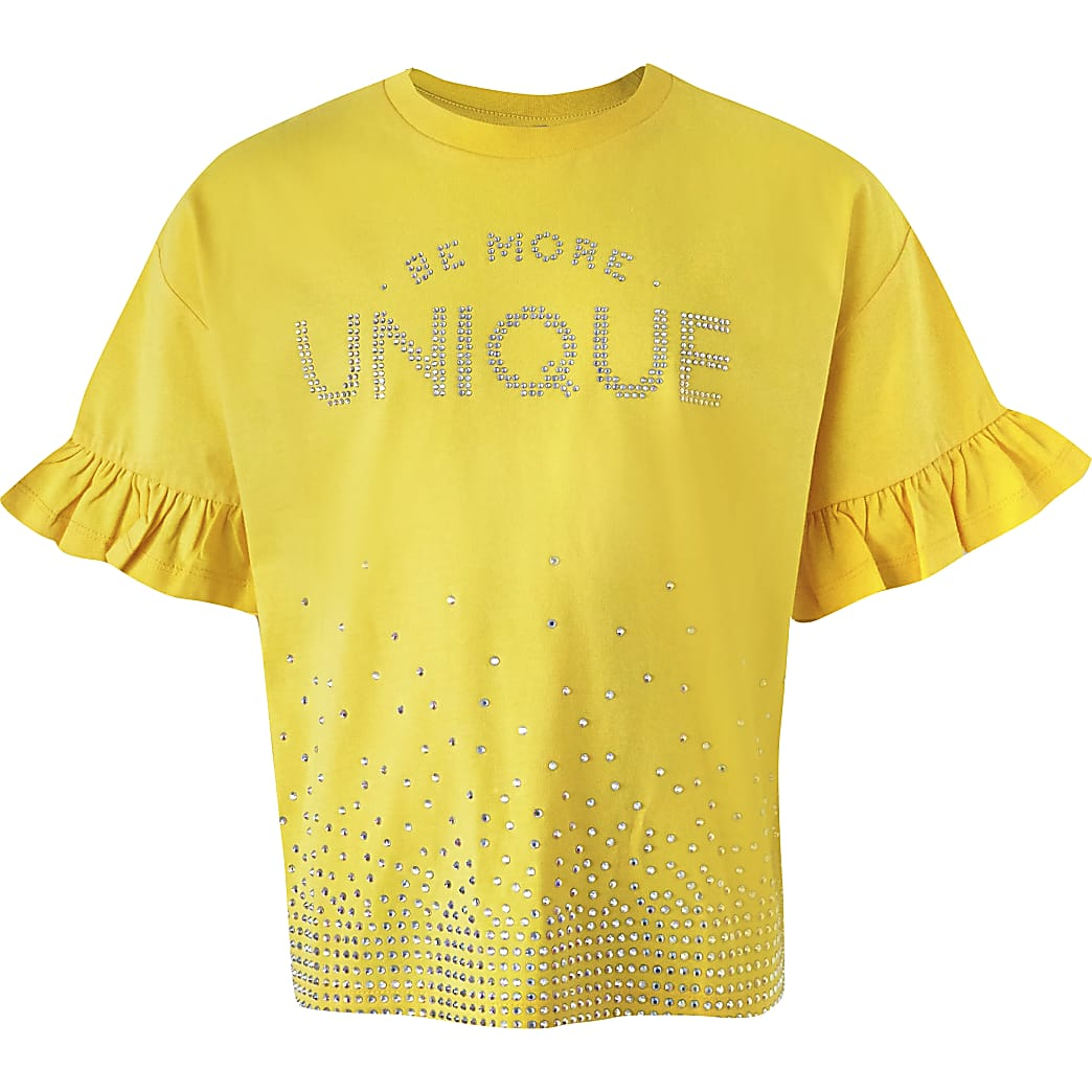 Girls yellow 'Unique' diamante T-shirt