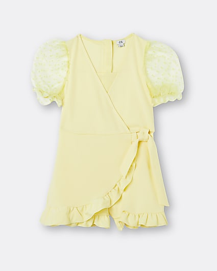Girls yellow wrap organza sleeve playsuit