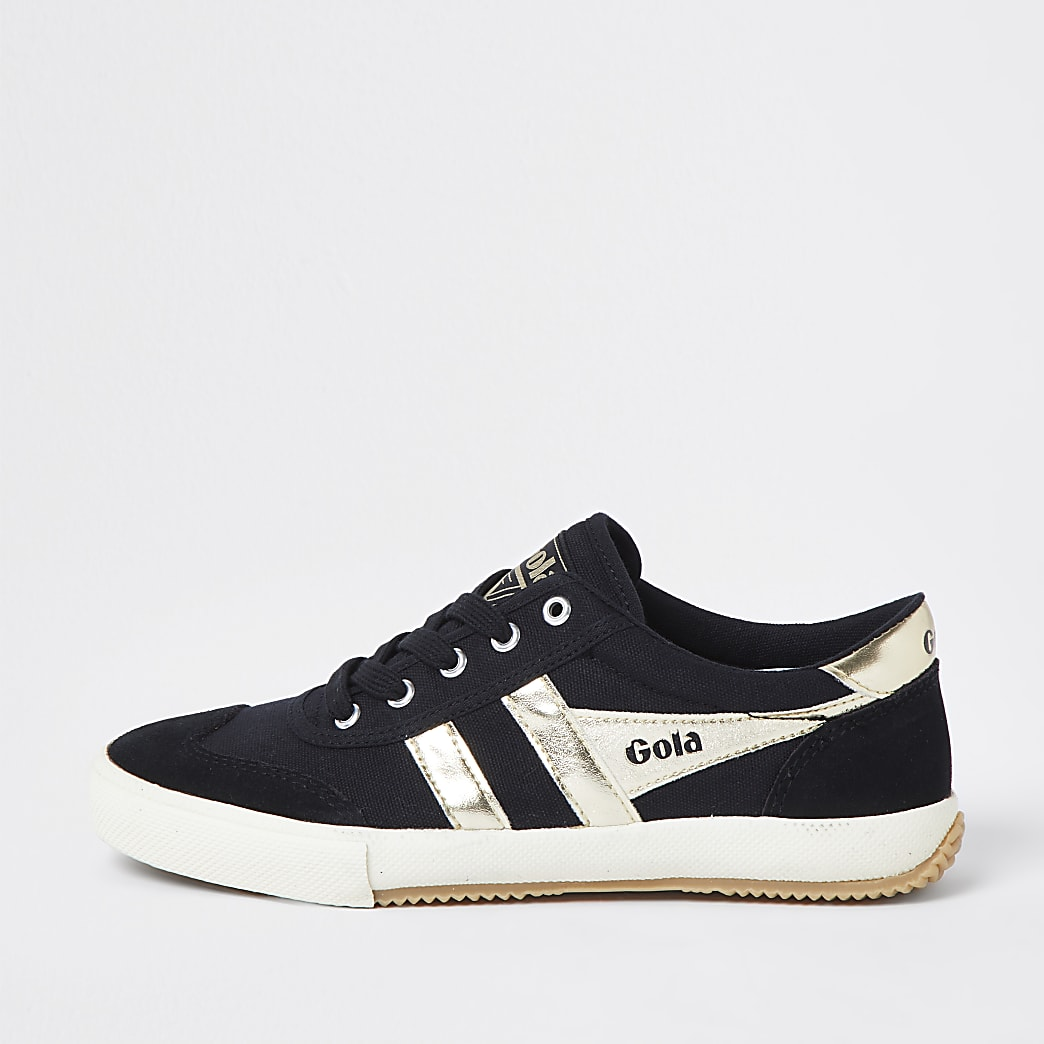 Gola black retro  lace up trainers