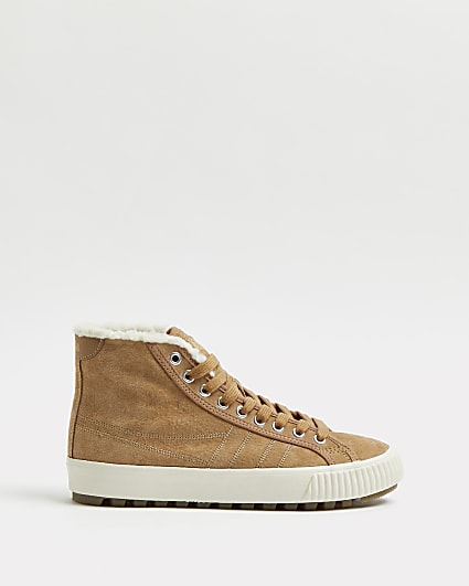 Gola brown suede high top trainers