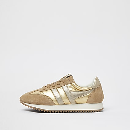 Gola gold metallic runner trainers