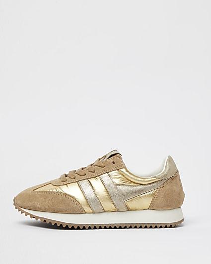 Gola gold metallic runner trainers